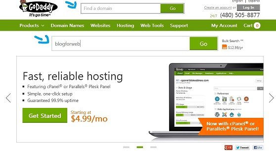 How to search for domain name at GoDaddy