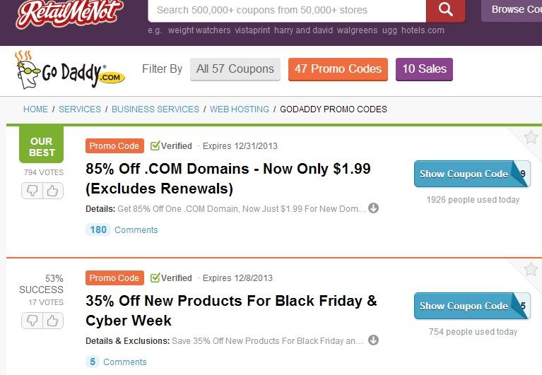 GoDaddy Promo Codes at retailmenot